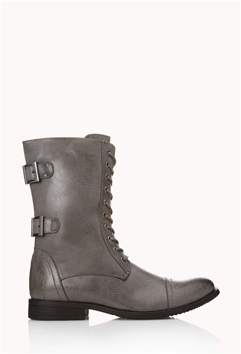 mens combat boots forever 21 forever 21 buckled combat boots in gray for lyst