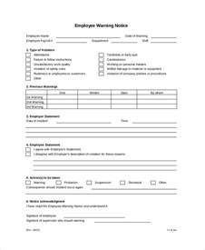 Employee Warning Template by Employee Warning Notice 8 Free Word Pdf Documents