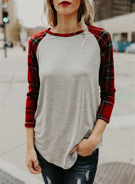 Plaid Sleeve T Shirt s neck plaid sleeve knit shirt roawe