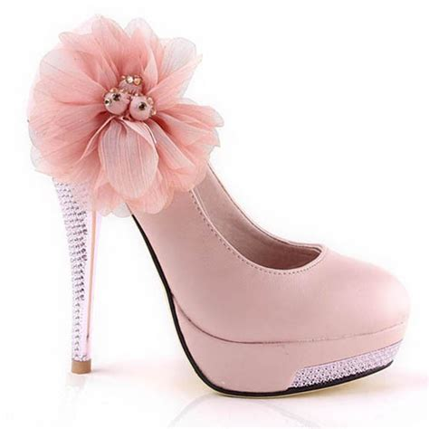 flower high heel shoes high heel flower crystral closed toes pink platform prom