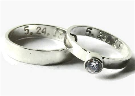 his and wedding band set personalized sterling silver