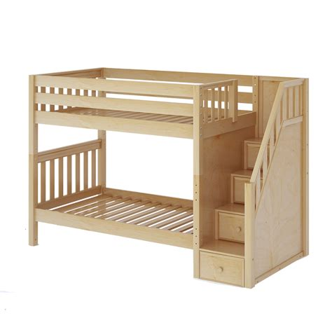 bunk bed slats twin size medium bunk bed w staircase in natural with
