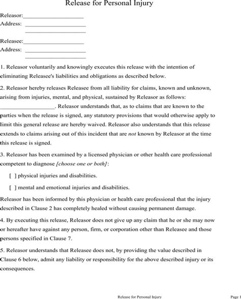 download personal injury waiver form for free formtemplate