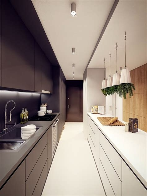 Narrow Galley Kitchen Designs Narrow Kitchen Designs Narrow Kitchen In White And Black Colors Kitchen Pinterest