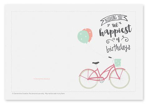 birthday card template printable colour printable birthday card bicycle with balloons