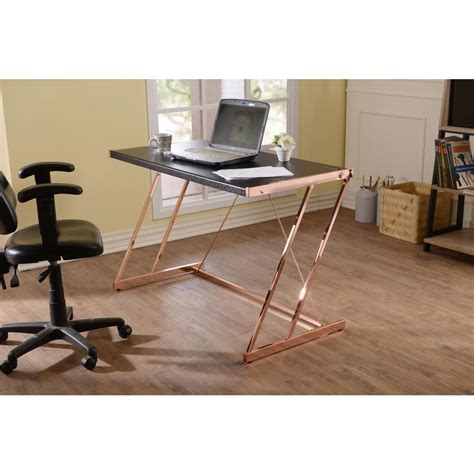 black and gold desk acme furniture black and rose gold finis writing desk with