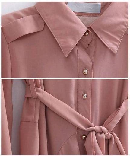 Axara Pink Opdress Lengan Panjang Murah Cantik kemeja dress wanita import lengan panjang model terbaru