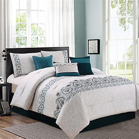 margo 7 piece comforter set in teal grey bed bath beyond