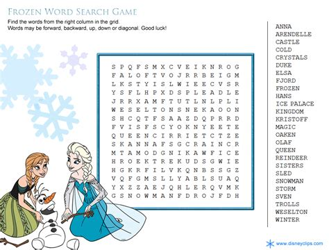 Free Worldwide Search Disney S Frozen Word Search Sleepovers Disney Word Word Search