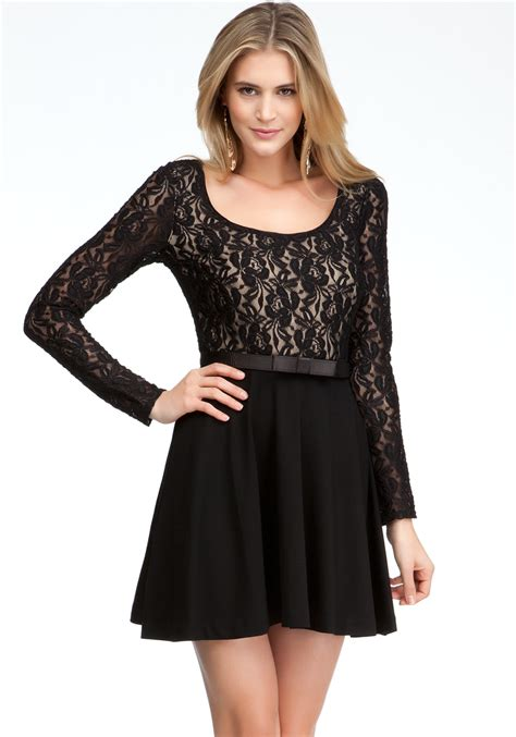 Dress Flare lyst bebe sleeve fit flare dress in black