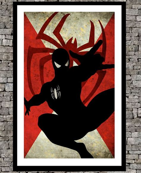 printable superhero poster spiderman original art illustration super hero retro