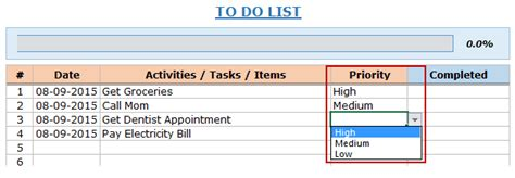 Excel To Do List Template Free Download Priority To Do List Template