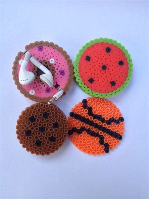 earbud holder perler bead watermelon donut basketball