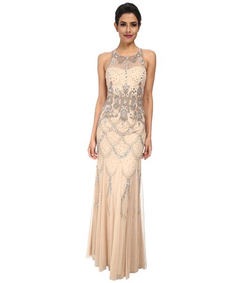 beaded gown papell halter fully beaded gown chagne