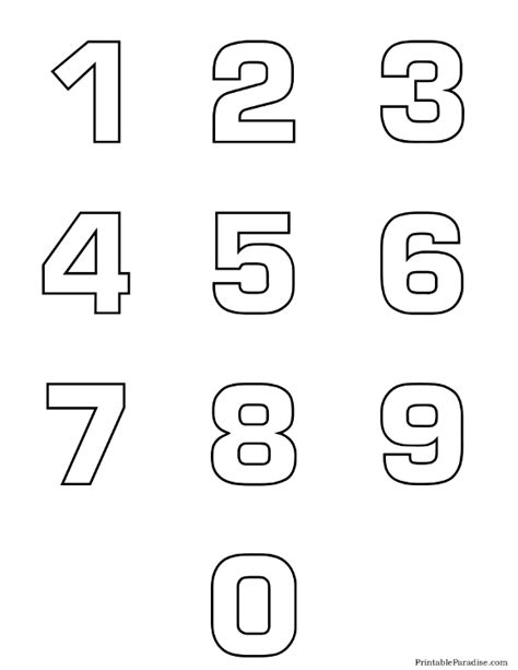 Printable Drawing Numbers | printable number outlines 0 9 on one page