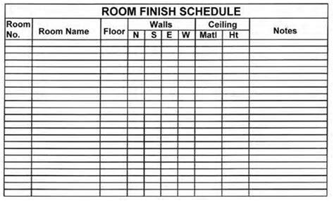 Blueprint Understanding Schedules Construction 53 Room Finish Schedule Template
