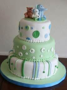 baby shower cakes boys three tier baby shower cake for boy with pokadots and baby elephant puppy and on top and