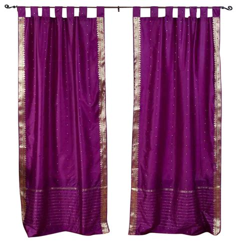 tab top red curtains pair of violet red tab top sheer sari curtains 43 quot x63