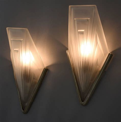 art deco wall french art deco bronze and glass wall lights by degu 233