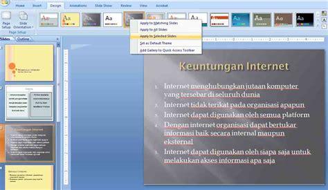 untuk menentukan layout presentasi pilih menu cara menggunakan multiple themes dalam satu presentasi