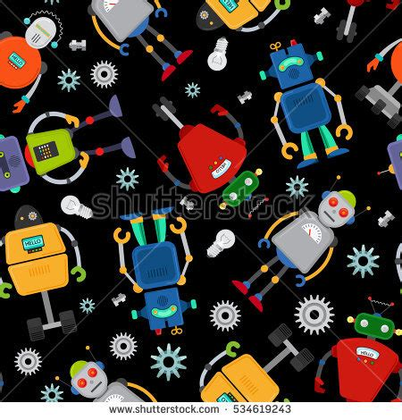 pattern over background cute robot pattern over black background stock vector