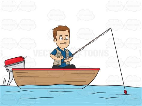 cartoon fishing boat clipart cartoon clipart a man enjoys his time in a motor boat