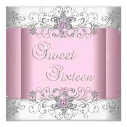 sweet 16 pink silver white image 5 25 quot square invitation card zazzle
