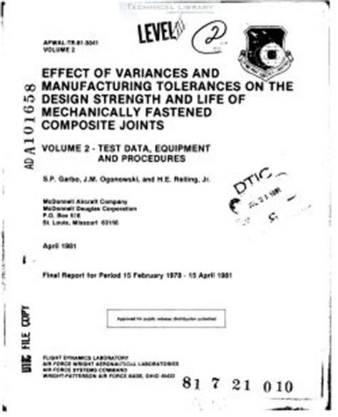design for manufacturing tolerances afwal tr 81 3041 vol ii abbott aerospace sezc ltd