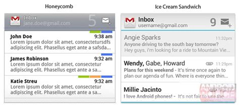 gmail widgets for android screenshots widgets gmail e mail en agenda sandwich gelekt nieuws android planet