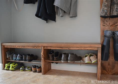 Easy Diy Bench With Storage easy mudroom bench with shoe storage bitterroot diy