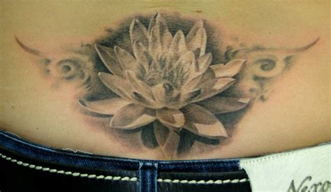 lotus black and grey black and grey lotus flower design for lower back