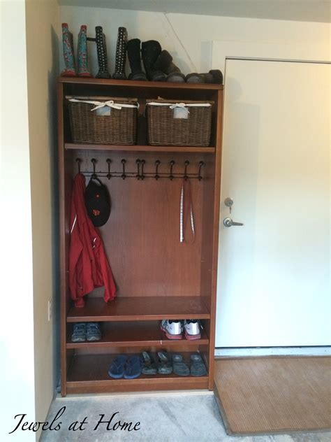 mudroom locker made from a repurposed bookcase jewels at