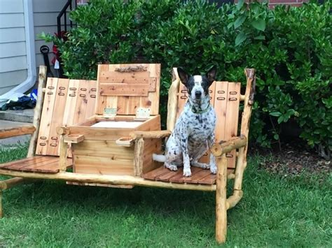 outdoor bench with cooler buy a hand made outdoor bench w built in cooler console