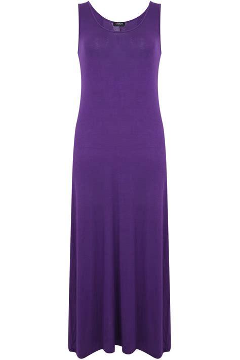 Purple Maxi Dress purple sleeveless jersey maxi dress plus size 14 to 36