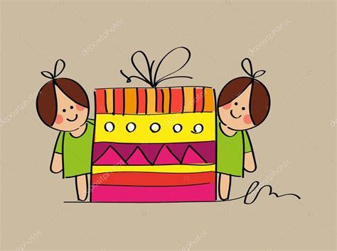 imagenes de feliz cumpleaños gemelas las ni 241 as gemelas lindo bosquejo con un regalo de