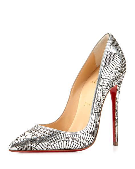heels quinno laser silver lyst christian louboutin kristali laser cut in metallic