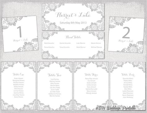 wedding seating chart template silver gray quot antique lace