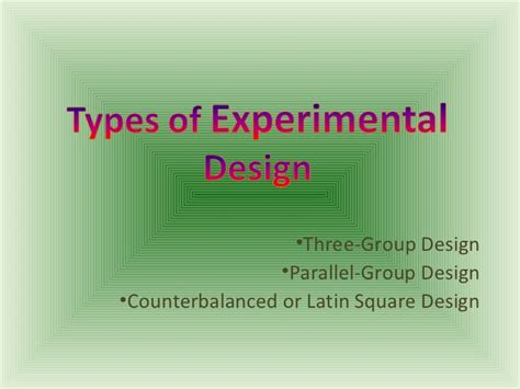 experimental group design types of experimental design
