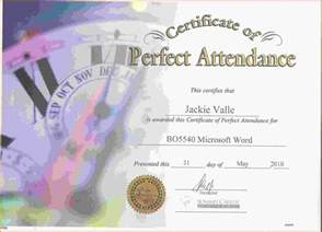 Free Perfect Attendance Certificate Template   Template