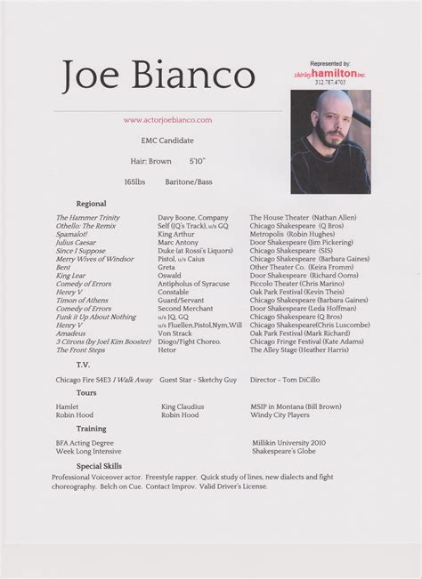 joe bianco entertainer headshot resume joe bianco