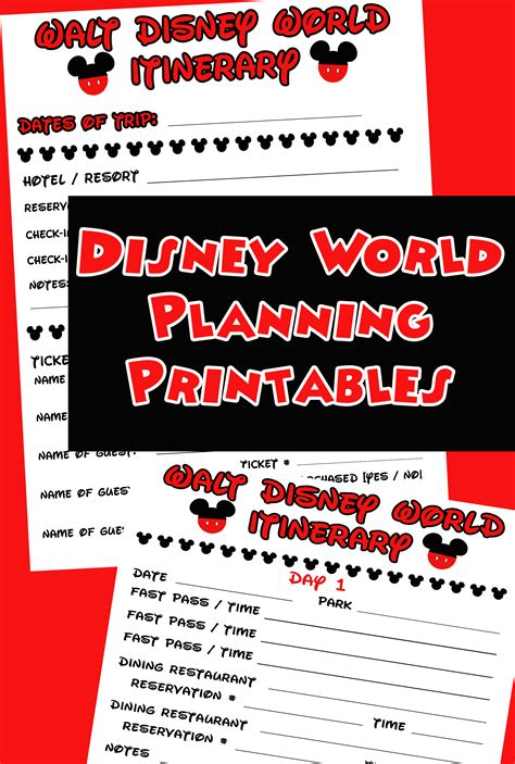 printable disneyland vacation planner free disney itinerary printable mom explores virginia