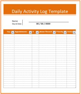 Activity Log Templates Free Log Templates Daily Activity Log Template