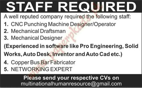 mechanical design home jobs cnc punching machine designer mechanical draftsman