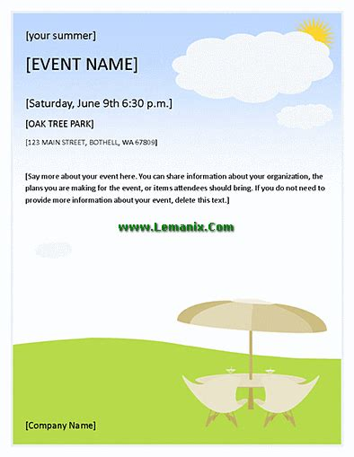 microsoft templates for event flyers summer event flyer for microsoft publisher templates for