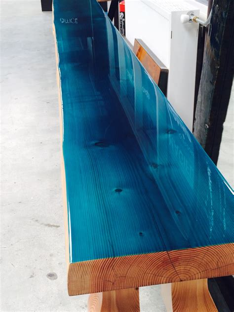 bar top epoxy uk close up douglas tree trunk with ocean blue color coating