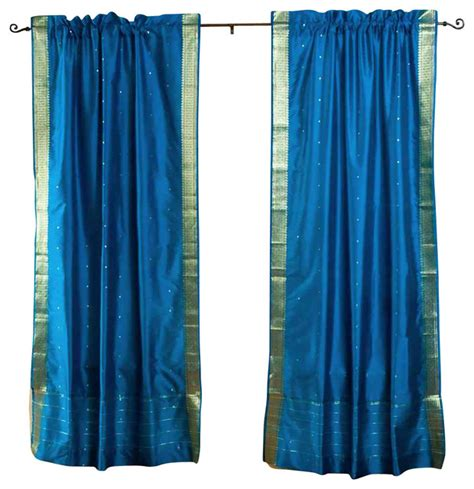 Turquoise Sheer Curtains Pair Of Turquoise Rod Pocket Sheer Sari Curtains 43 Quot X63 Quot Eclectic Curtains By Indian
