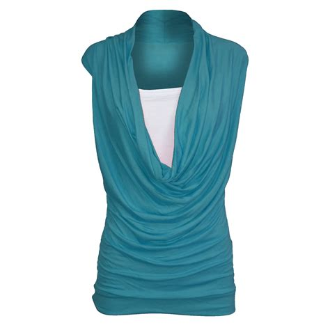 bett 2 in 1 womens ruched 2 in 1 cowl neck sleeveless jersey