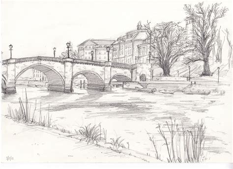 Landscape Drawing Richmond Bridge Drawing From Bridge Drawing