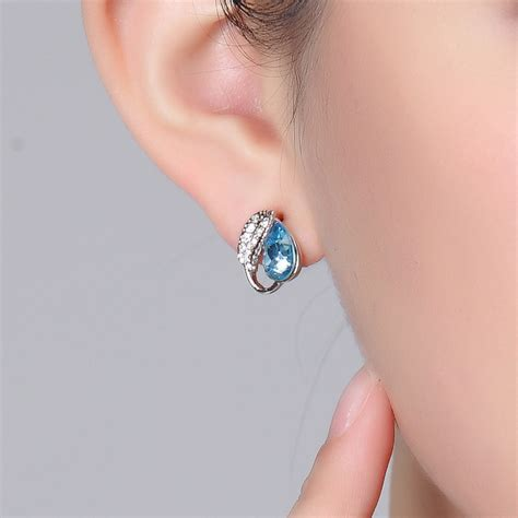 Pembolong Batok Kelapa paket abang none acacia leaves earrings 925 sterling silver anting wanita blue