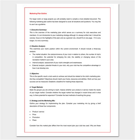 Marketing Plan Outline Template 16 Exles For Word Pdf Format Marketing Recap Template